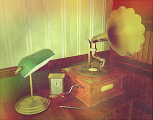 3D render of an old gramophone with retro effect