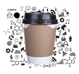 Paper cup of coffee with drawing graph Isolated white background