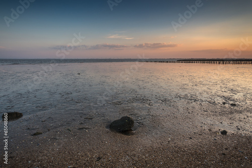 canvas print picture Ebbe Nordsee bei Sonnenuntergang