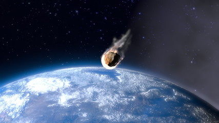 incandescent asteroid towards the Earth