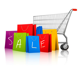 Background with colorful shopping bags and shopping cart. Discou