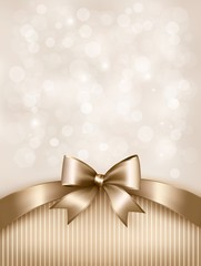 Holiday gold background with gift glossy bow and ribbon. Vector