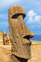 Head of a standing moai in Easter Island