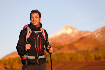Hiker man hiking living healthy active lifestyle