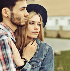 Portrait of young sensual couple outdoor