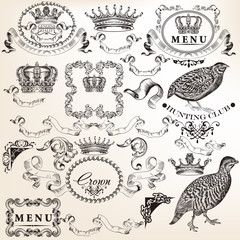 Set of vector decorative elements in vintage style