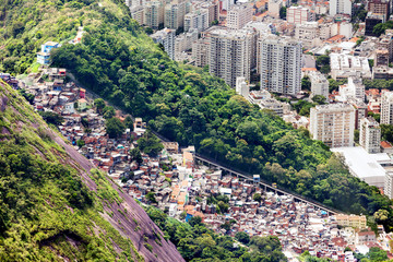Aerial view of favela and high-rise buildings in Rio de Janeiro,