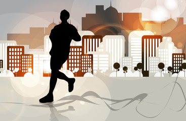 Marathon runner. Vector