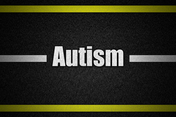 Traffic  road surface with text Autism