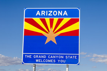 An Arizona State Welcomes You Road Sign