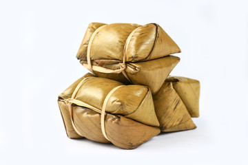Isolated Thai rice cakes bundle on white background