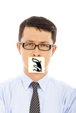 businessman with helpless and blame expression on sticker poster