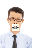 businessman feel helpless and cry expression on sticker poster