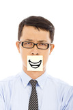 businessman feel helpless and smile expression on sticker poster