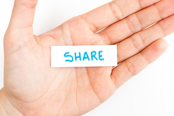 Showing share word on hand