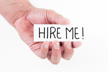 Hand holding hire me message