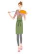 ハンディモップで掃除する女性