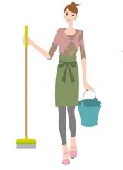 モップとバケツ持つ女性。掃除