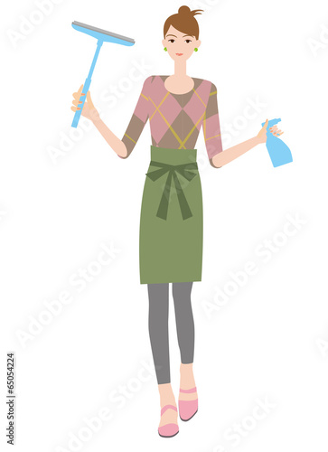 窓を清掃する女性