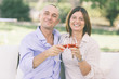 Mature Couple Having an Aperitif Outdoor