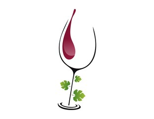 logo wine glass leaf elegant concept menu drink glamour plants