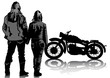 Retro bike and couple
