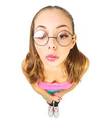 Funny schoolgirl with nerd glasses