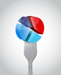 pie chart and fork illustration design