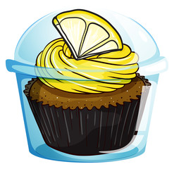 A flavorful cupcake inside a covered cup