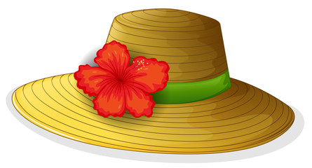 A brown fashion hat with a flower