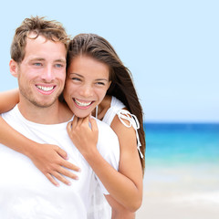 Beach couple lovers on romantic travel in love