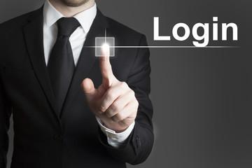 businessman touchscreen login