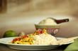 Huhn mit Currysauce und Reis