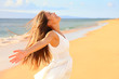 canvas print picture - Free happy woman on beach