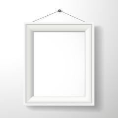 3d vector blank frame on white wall
