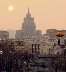 City sunset. Moscow, Russia.