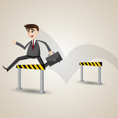 cartoon businessman hurdles