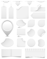 White Paper Tags and Stickers Set