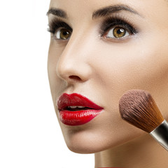 Makeup. Make-up closeup. Cosmetic Powder Brush.Perfect Skin