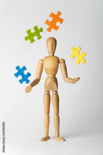 Leinwanddruck Bild Puzzlejongleur