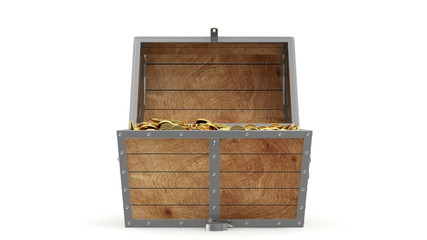 Animation of Open Treasure Chest with Golden Coins. Alpha Matte