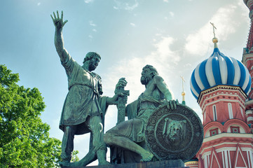Monument to Minin and Pozharsky on Red Square. Moscow, Russia
