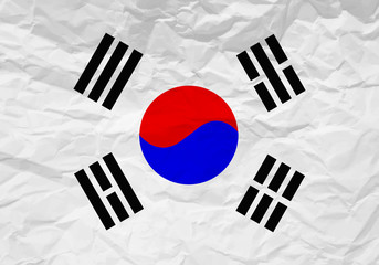 South Korea flag crumpled paper