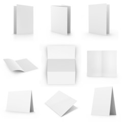 Collection of blank card, isolated on white