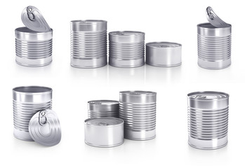 Collection of different cans isolated on white