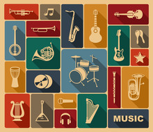 houettes of musical instruments