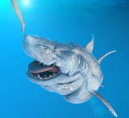 Big shark chasing man