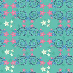 seamless turquoise background. floral ornament.