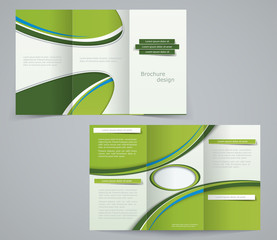 Three fold brochure template, corporate flyer or cover design in