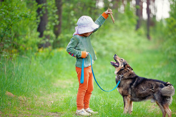 Little girl schooling dog in the forest